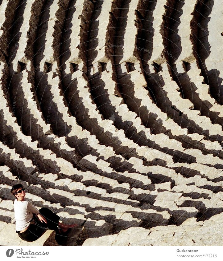 Woman Sit Stairs Theatre Row Historic Audience Rome Arena Colosseum Jordan Amman Jerash