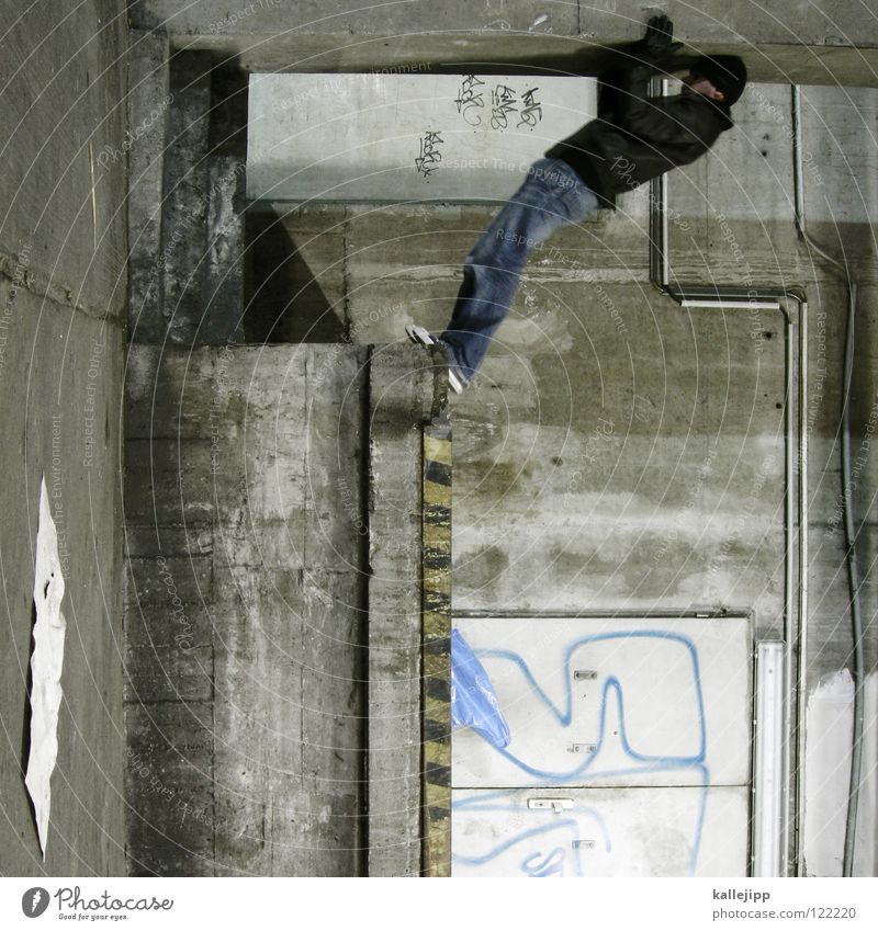 sleeping position Man Silhouette Thief Criminal Ramp Loading ramp Pedestrian Shaft Tunnel Subsoil Outbreak Escape Tumble down Window Parking garage Light
