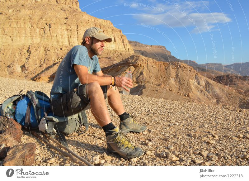 Human being Nature Youth (Young adults) Relaxation Landscape Calm 18 - 30 years Adults Mountain Life Happy Rock Masculine Contentment Hiking Drinking water