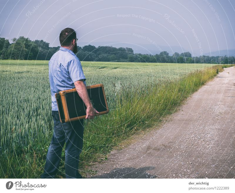 leaving home 4 Masculine Man Adults Body 1 Human being 30 - 45 years Landscape Sky Sun Summer Beautiful weather Tree Field Lanes & trails Shirt Jeans Accessory