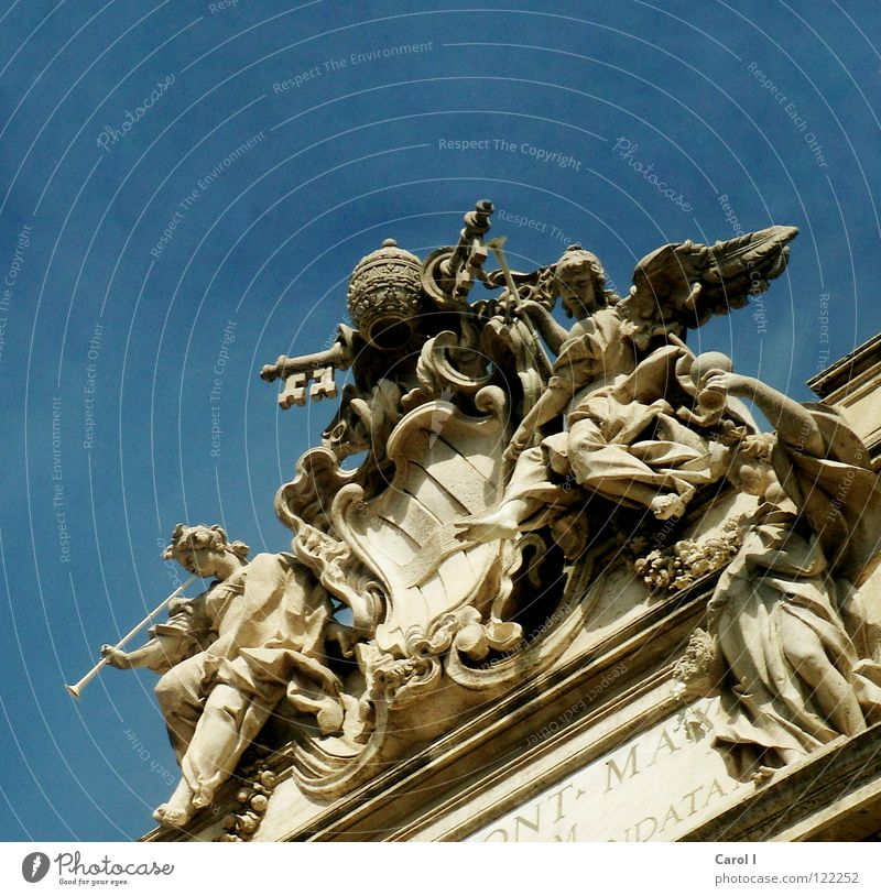 Beautiful Old Sky Blue Vacation & Travel Yellow Stone Art Europe Angel Roof Wing Well Statue Monument Craft (trade)