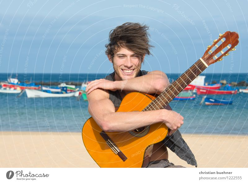 the guitar and the sea Vacation & Travel Adventure Freedom Summer Summer vacation Beach Ocean Waves Young man Youth (Young adults) 18 - 30 years Adults