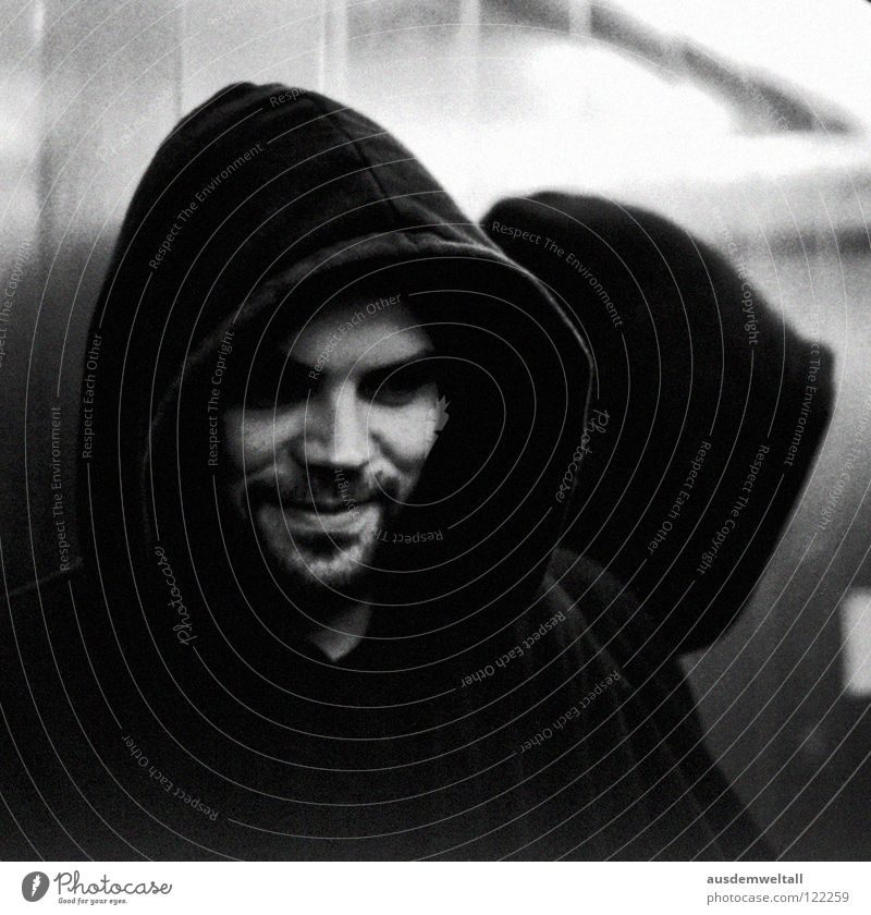 Human being Face Black Dark Emotions Laughter Masculine Mirror Analog Facial hair Elevator Mystic Hooded (clothing) Scan