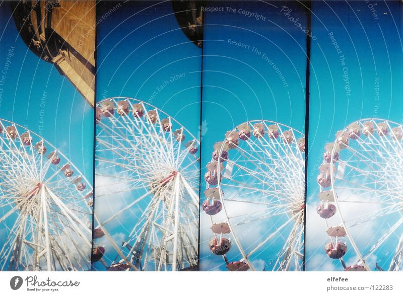 Sky White Blue Red Joy Clouds Building Funny Empty Fairs & Carnivals Lomography Ferris wheel Mannheim Street party Water tower