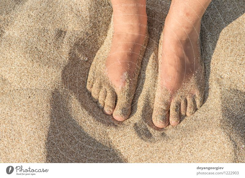 Foot in thongs on the beach Woman Vacation & Travel Blue Summer White Relaxation Ocean Red Joy Beach Adults Feet Sand Leisure and hobbies Waves Footwear