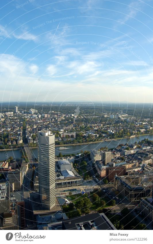 Sky City Blue Germany High-rise Horizon Perspective River Frankfurt Main