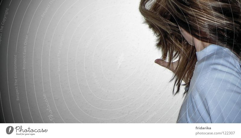 Twisted Hair and hairstyles Woman Adults Hand Shoulder 1 Human being Sweater Rotate Blue Brown Muddled Thumb Interior shot Detail Copy Space left