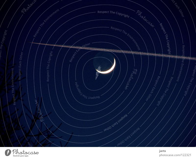Sky Airplane Aviation Moon Celestial bodies and the universe Full  moon Half moon Late flight
