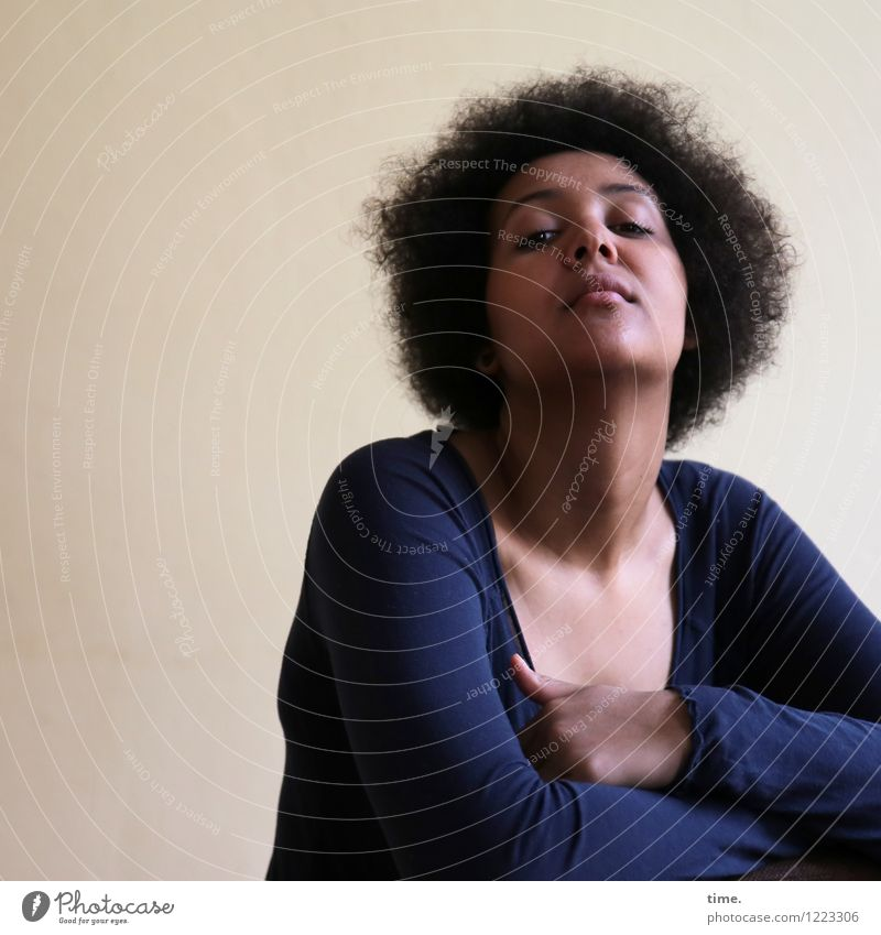 siren Room Feminine Young woman Youth (Young adults) 1 Human being Shirt Black-haired Curl Afro Observe Think Looking Wait Beautiful Emotions Honor Cool (slang)