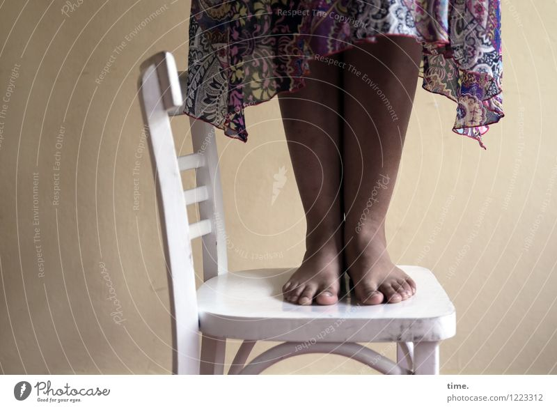 white chair | black woman (I) Chair Room Feminine Legs Feet 1 Human being Sculpture Stage play Dress Stand Esthetic Tall Power Willpower Determination Fairness