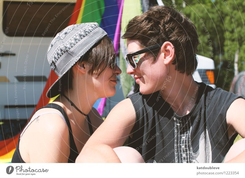 Only you are on my rainbow Androgynous Homosexual Observe Relaxation To enjoy Communicate Smiling Love Looking Sit Dream Free Friendliness Together Near