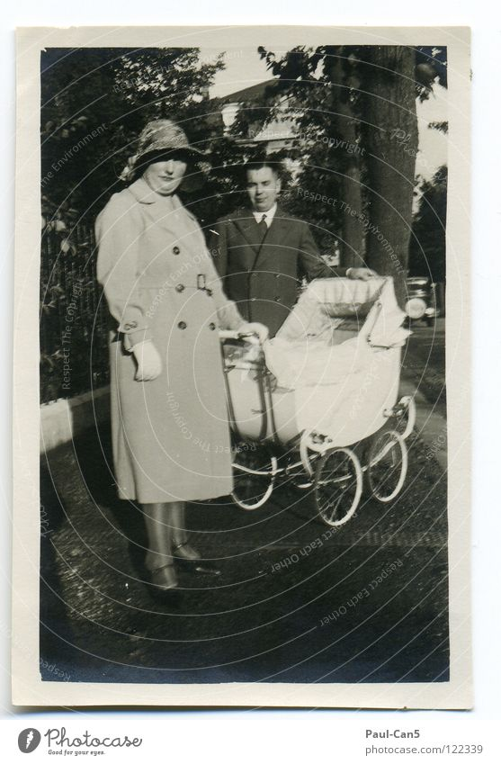 1931 Ancient Grandmother Baby carriage Black White Analog Black & white photo Group Old great-grandparents Parents unfortunately blurred To go for a walk Trip