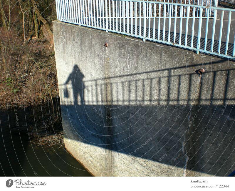 shadow woman Bag Dark Light Winter sun Wall (barrier) Tree Light blue Brown Shadow Bright Handrail Bridge Crazy Escarpment light gray