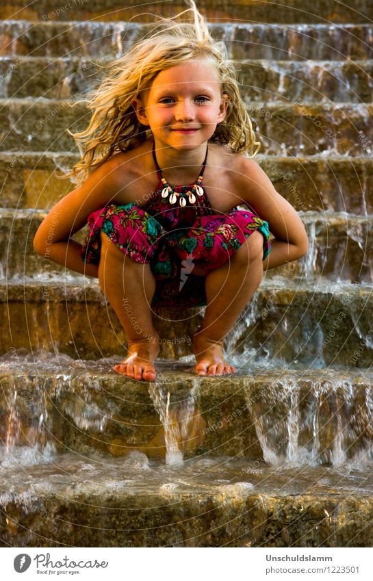 Human being Child Vacation & Travel Beautiful Water Girl Warmth Emotions Natural Happy Moody Stairs Tourism Gold Infancy Blonde