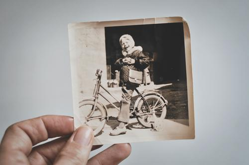 learned to ride a bicycle Photography Analog Old Black & white photo Hand Child Bicycle