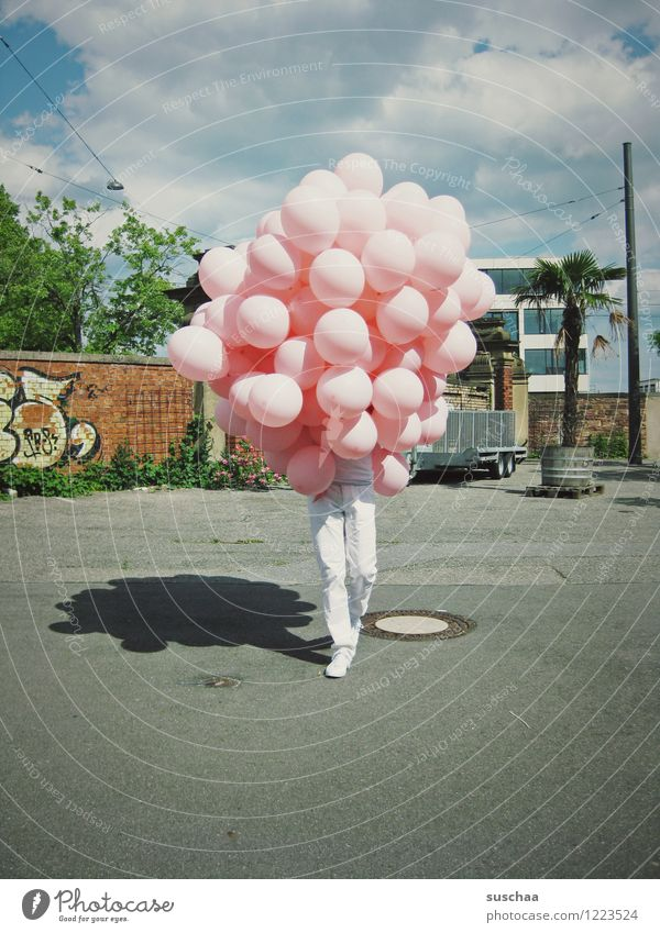 balloons with legs ... Balloon Legs Walking Street Whimsical Camouflage Hide Unidentified