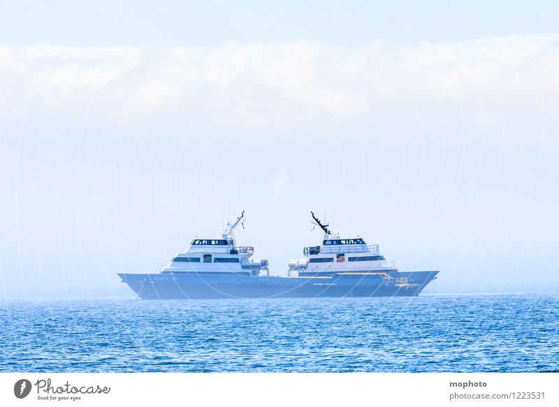 bi-directional Cruise Ocean Waves Fishery Environment Nature Water Sky Clouds Fog Deserted Navigation Fishing boat Watercraft Harbour Maritime Wet Relationship
