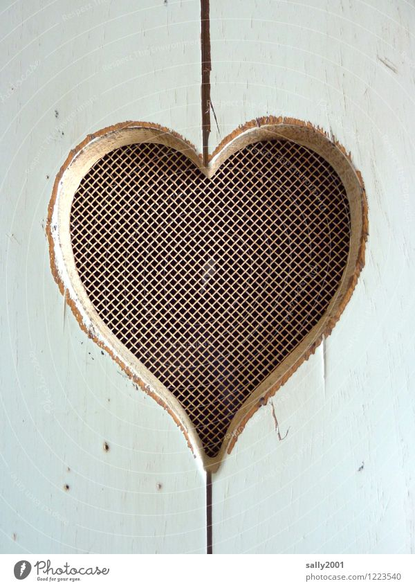 Say it through the heart... Heart Simple Curiosity White Sympathy Love Relationship Expectation Mysterious Heart-shaped Wood Wardrobe door Grating Net porous