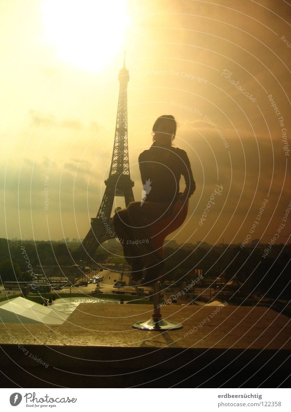 Woman Sky Sun Vacation & Travel Clouds Freedom Adults Sit Chair Paris Monument France Landmark Ambience Eiffel Tower Light and shadow