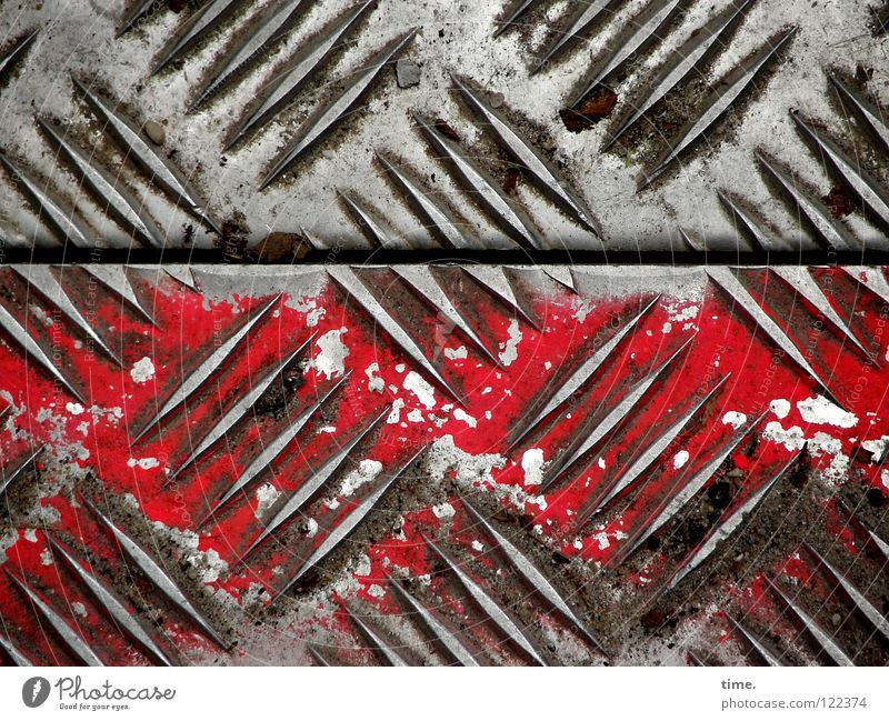 Building site profile (II) Tin Road construction Burl Silhouette Pattern Red Oil paint Diagonal Beautiful Iron Iron plate Seam Numbers Safety