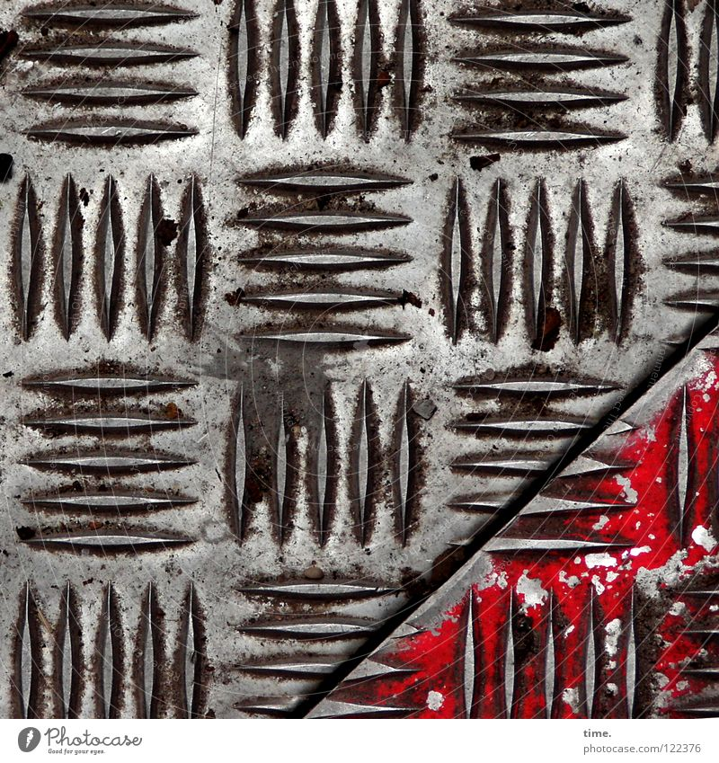 Construction site profile (III) Tin Road construction Burl Silhouette Pattern Red Oil paint Diagonal already Iron Iron plate Seam figures Safety