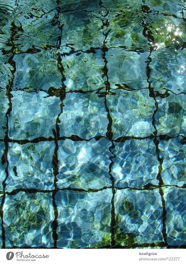 shimmer Summer Swimming pool Light Green Square Algae Wet Dark Physics Refrigeration Water Joy Shadow Blue Seam Reflection Blur Bright summer feeling Warmth