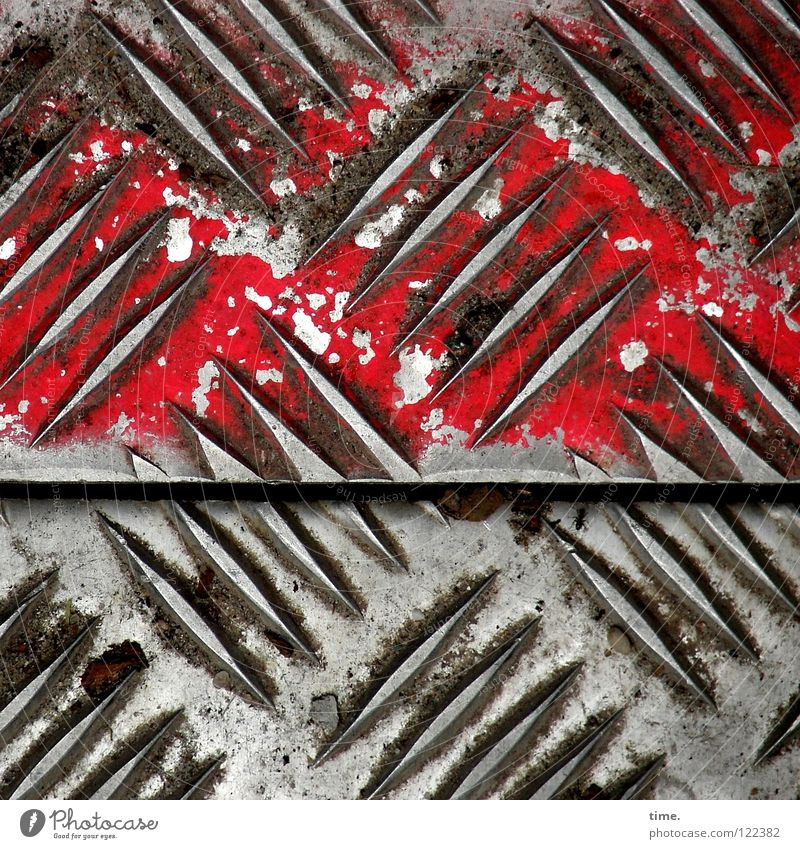 Construction site profile (V) Tin Road construction Burl Silhouette Pattern Red Oil paint Diagonal Beautiful Iron Iron plate Seam Numbers Safety