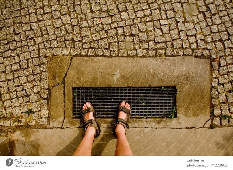 feet Feet Tibia Legs Toes Under Sandal Summer Going Stand Wait Expectation Doormat Entrance Way out Sidewalk Footpath Lanes & trails Indecisive Hesitate Town