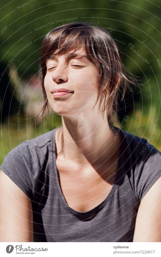 Sun on your face Beautiful Healthy Life Harmonious Well-being Relaxation Human being Young woman Youth (Young adults) 18 - 30 years Adults Nature Sunlight