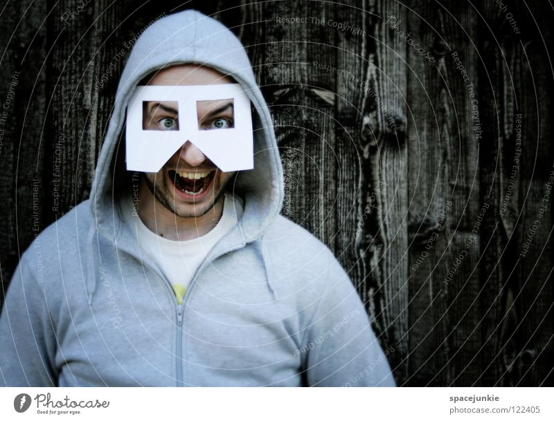 flashback Man Portrait photograph Freak Paper Scare Wall (building) Wood Star Wars The eighties Joy Mask Scream Structures and shapes