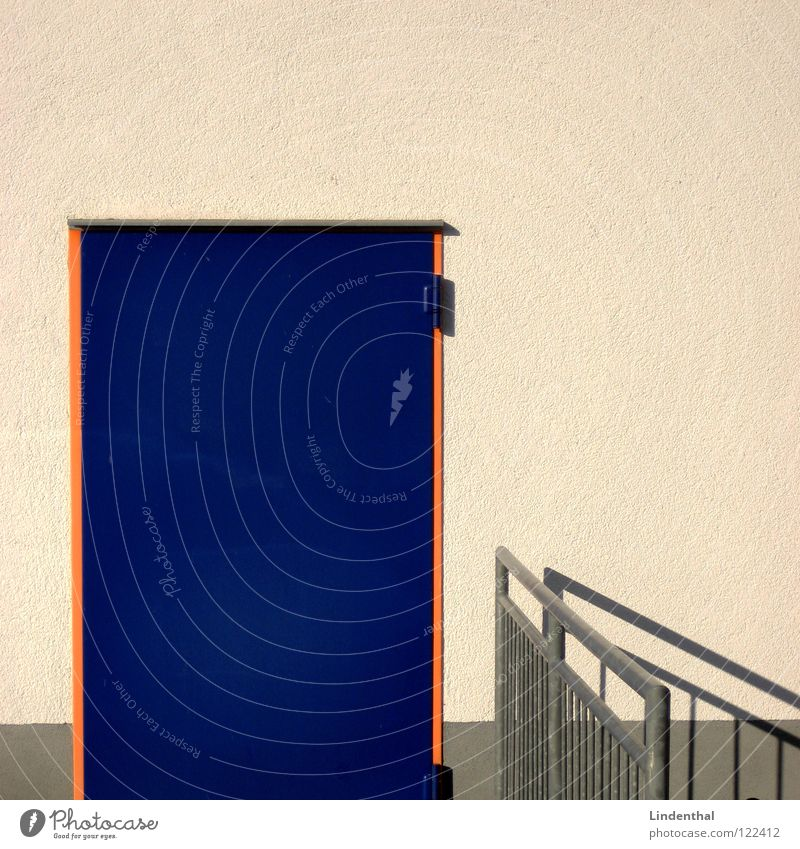 White Blue Wall (building) Orange Door Handrail Frame Footstep Stunned Enter