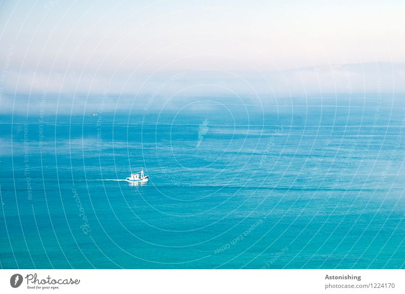 The boat Environment Water Sky Horizon Summer Weather Fog Ocean Mediterranean sea Navigation Boating trip Swimming & Bathing Large Blue White Far-off places
