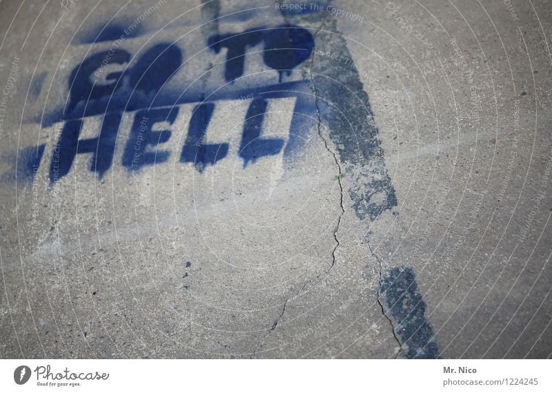 Blue Graffiti Gray Signs and labeling Characters Concrete Ground Typography Crack & Rip & Tear Seam Hell
