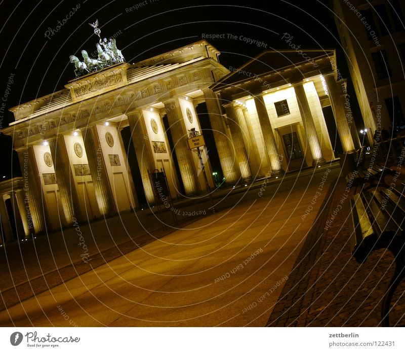 Brandenburg Gate Trip Tourism Marketing Classicism Landmark Pariser Platz Symbols and metaphors Wall (barrier) Night Night shot Lighting Illumination Berlin
