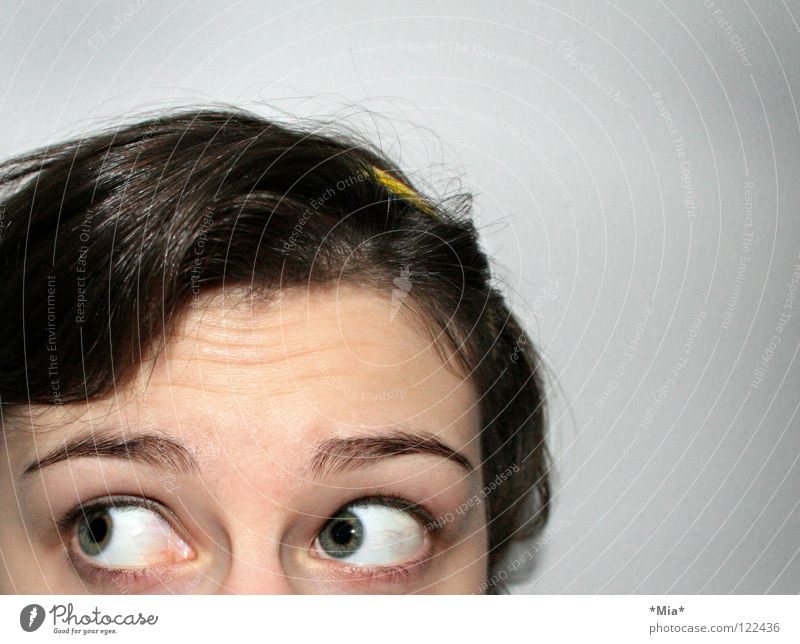 Woman Hair and hairstyles Chaos Surprise Eyebrow Amazed Frightening Strand of hair Hair circlet