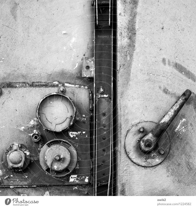 safe Locking mechanism Lever Door Metal door Closed Old Black & white photo Exterior shot Close-up Detail Deserted Copy Space top
