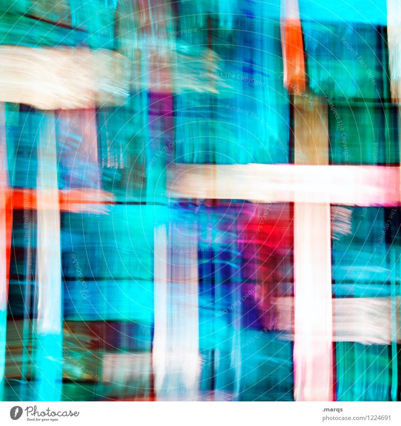 Abstract colorful. Style Design Glass Exceptional Hip & trendy Uniqueness Modern Crazy Blue Red Turquoise White Surrealism Double exposure Stripe Colour photo