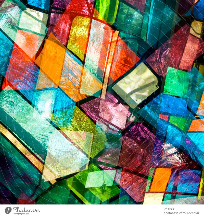 opaque Style Design Art Window Glass Line Exceptional Cool (slang) Hip & trendy Uniqueness Modern Many Crazy Multicoloured Colour Arrangement Surrealism