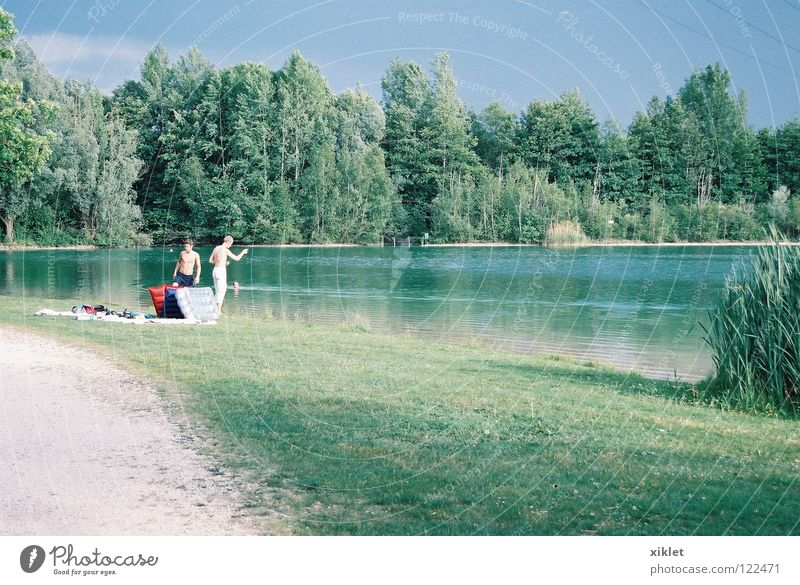 Sky Nature Youth (Young adults) Blue Water Green Tree Vacation & Travel Summer Forest Relaxation Meadow Lanes & trails Grass Lake Germany