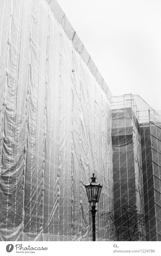 refurbishment Construction site Town House (Residential Structure) High-rise Lantern Covers (Construction) Scaffold Build Black & white photo Exterior shot