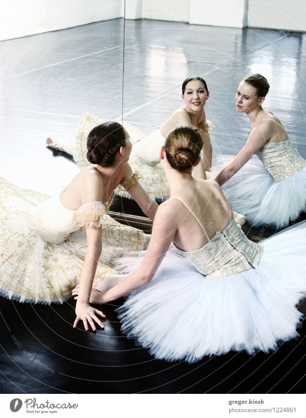 Ballerinas in the Mirror Human being Youth (Young adults) Beautiful White Young woman 18 - 30 years Adults Face Feminine Art Friendship Elegant Gold Sit Dance