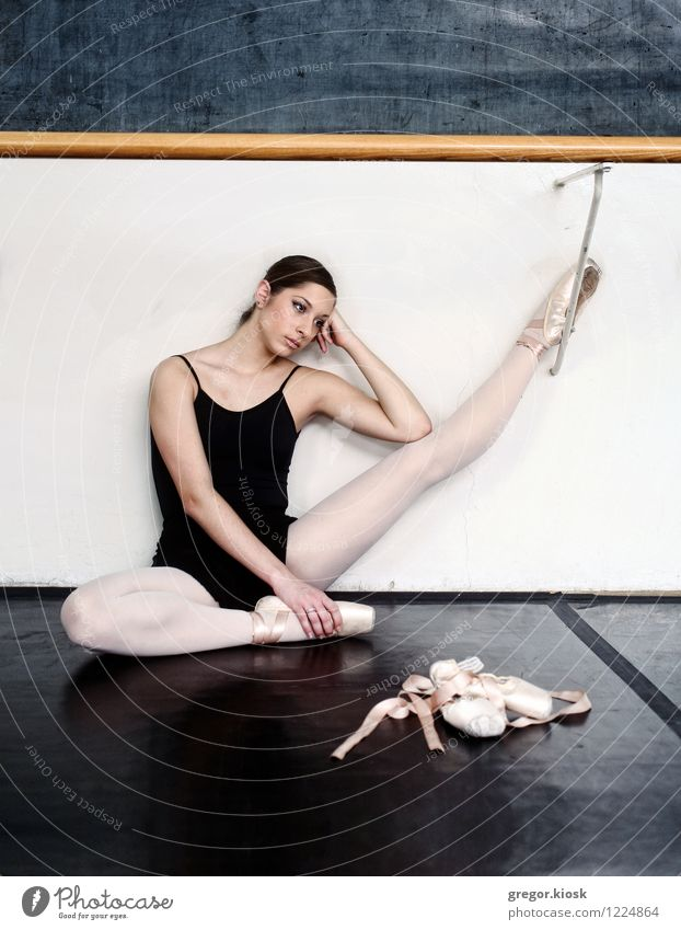 Ballet Slippers Human being Youth (Young adults) Young woman 18 - 30 years Cold Adults Wall (building) Sadness Wall (barrier) Legs Art Elegant Gloomy Body Sit