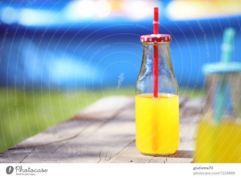 Summer with orange lemonade Beverage Drinking Cold drink Lemonade Bottle Straw Glassbottle Lifestyle Joy Relaxation Leisure and hobbies Summer vacation Garden