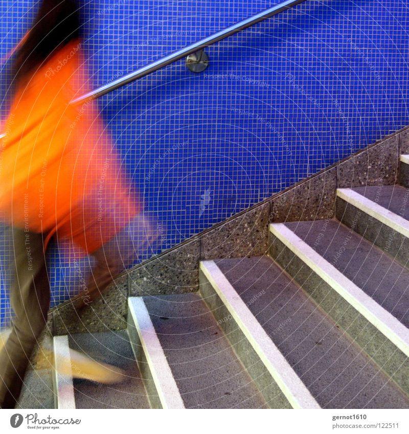 White Blue Jump Movement Orange Fear Walking Running Speed Stairs Dangerous Underground Hunting Train station Panic