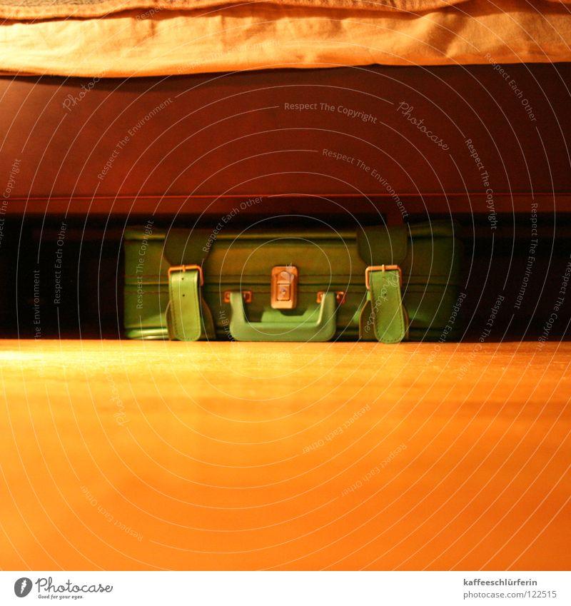 Green Vacation & Travel Bed Floor covering Suitcase Parquet floor Seventies Bedroom