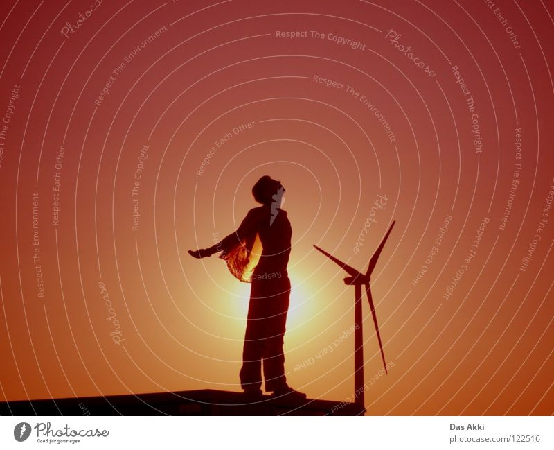 3rd Generators View Sunrise Horizon Summer Physics Field Red White Black Sky Renewable energy Electricity Small Trust Peace Wing Landscape Warmth beautiful