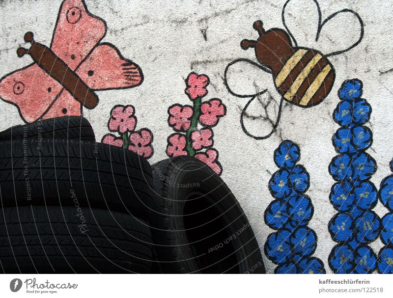 Flower Wall (building) Happiness Butterfly Bee Obscure Painting and drawing (object) Converse Dispose of Car tire