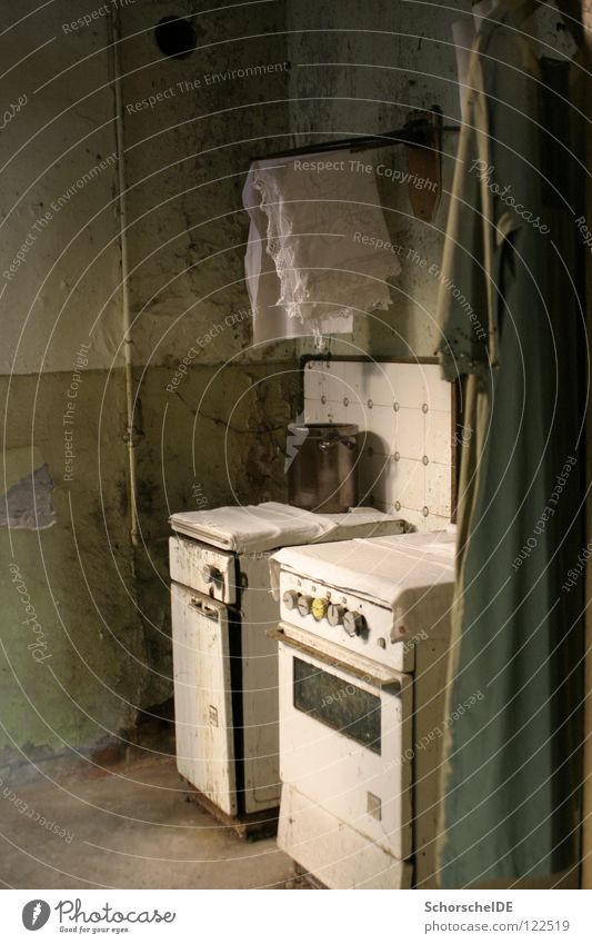 Old kitchen Kitchen Ruin Ghosts & Spectres  Rain Green Stove & Oven Junk Dessau Bakery Floor cloth Antique Masonry jumble