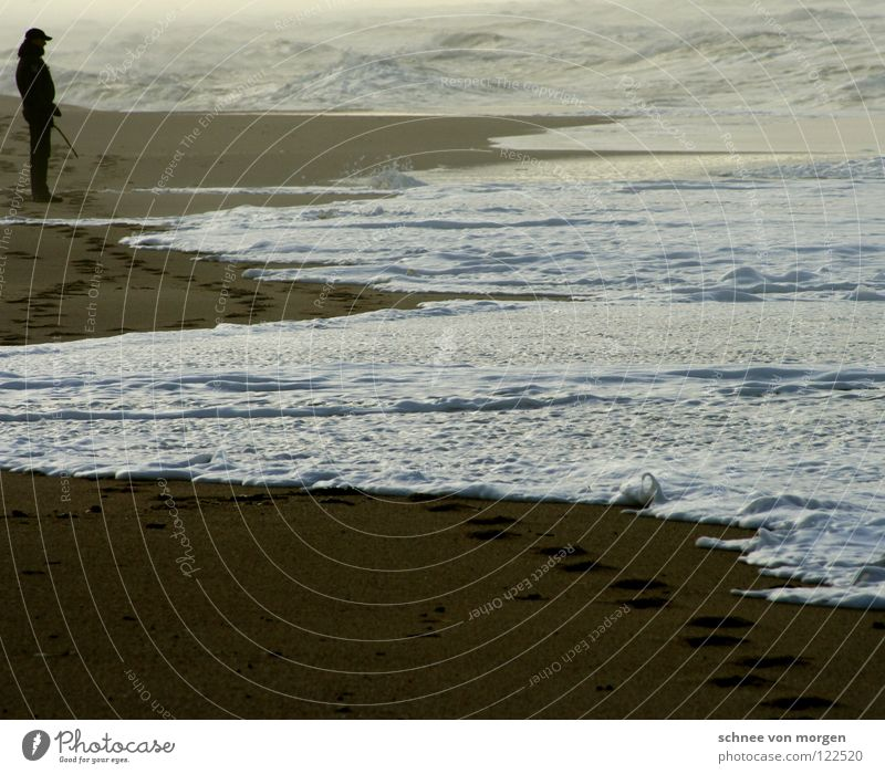 Human being Man Ocean Beach Calm Lake Sand Waves Tracks Passion Thunder and lightning Storm Rough