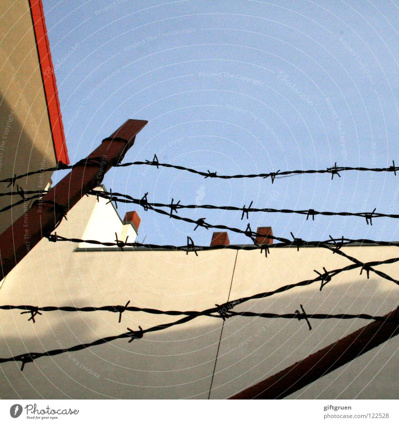 geometry Barbed wire Fence House (Residential Structure) Geometry Triangle Parallel Structures and shapes Mathematics Red Stay Close Barrier Roof Facade